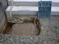 下地の砕石敷き・転圧